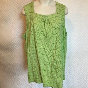 Liz & Me Green Embroidered Sleeveless Top 1X